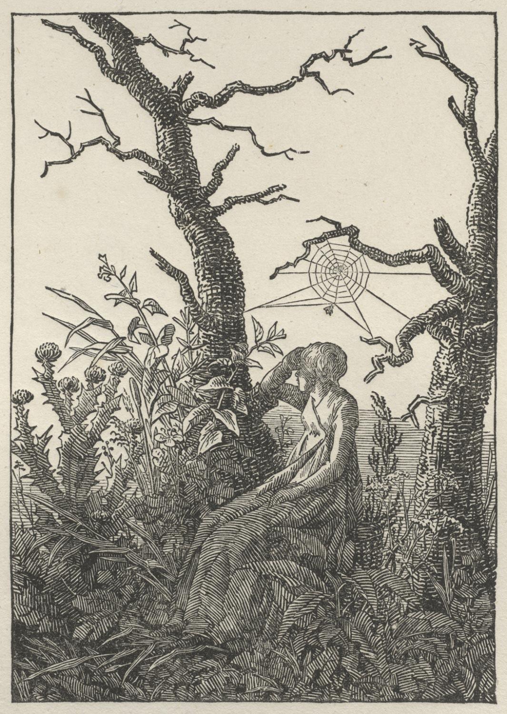 Caspar David Friedrich, Woman Seated Under a Spider's Web (Melancholy), woodcut, c. 1803 (detail), Philadelphia Museum of Art 1993-128-1