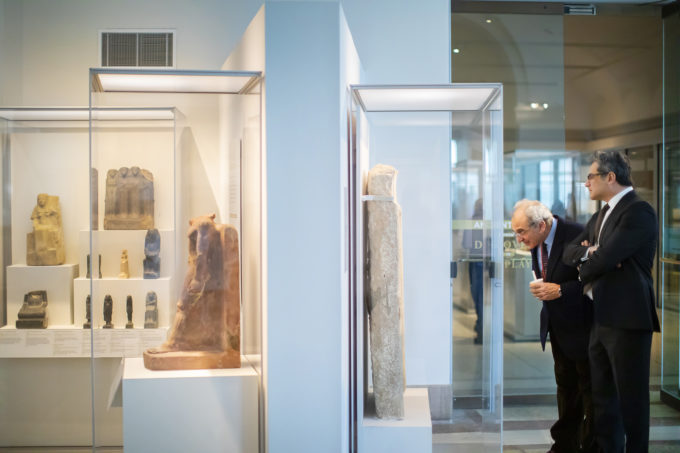 The 200 objects included in the new exhibition were chosen from the more than 50,000 Egyptian artifacts in the Museum's collection. Julian Siggers (right) is director of the Museum, with Dan Rahimi, executive director of galleries.