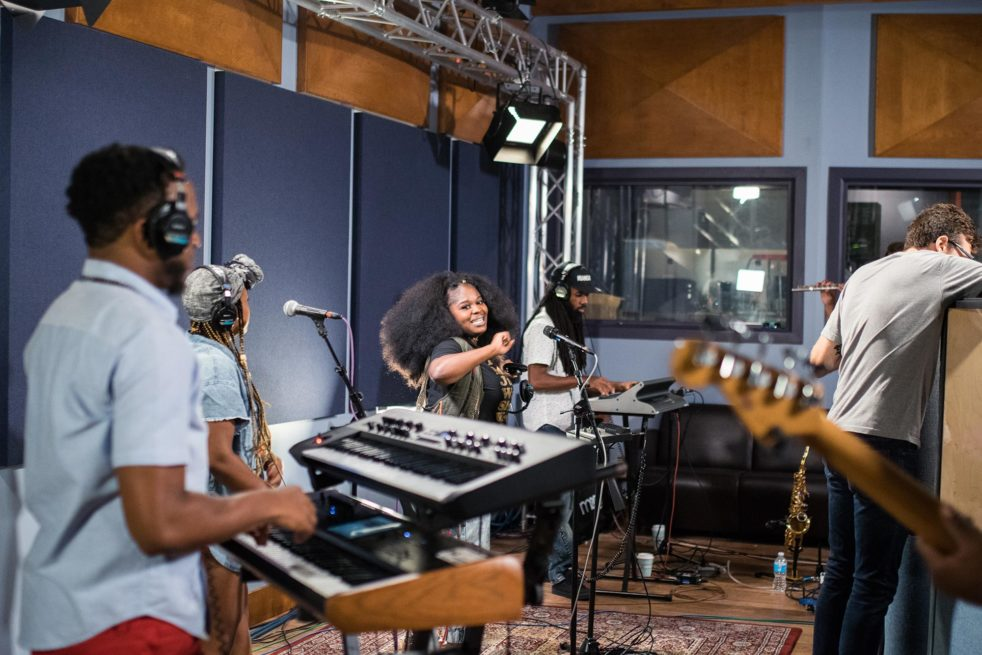 Tank and the Bangas, a NOLA-based group and winners of the 2017 NPR Tiny Desk Contest, is but one example of the countless artists that roll through WXPN's studios each year. Photo credit: Emma